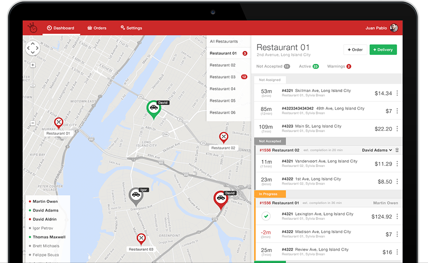 Orderlord delivery dashboard